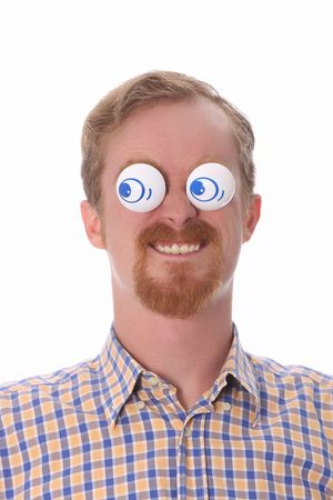 satirist: Very funny young man with toys on his eyes