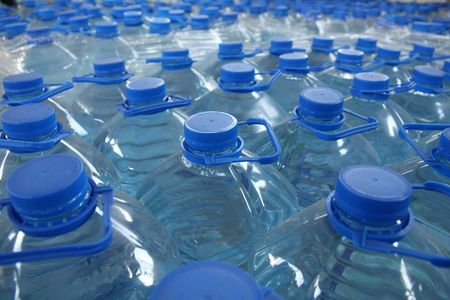 manufactory: detail of stack bottled water in industry Stock Photo