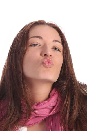 beautiful young a woman sending kiss on white background Stock Photo - 3096197