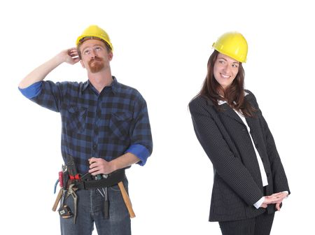 businesswoman and construction worker , couple in passionate on workplace photo