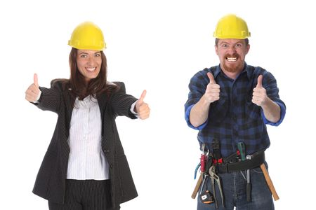 businesswoman and construction worker with architectural plans Stock Photo - 3159116