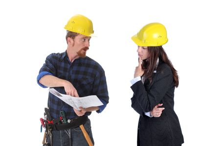 construction worker pointing on architectural plans and architect photo