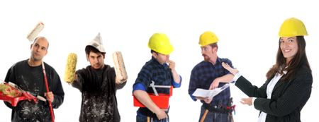 businesswoman with successful construction workers on white background photo