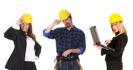 two businesswoman and construction worker on white background photo