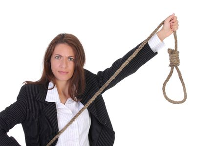 young businesswoman with gallows on white background photo