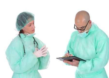 group of healthcare workers arguments on workplace  photo