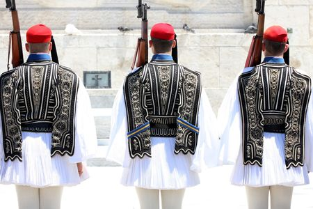 ceremonial clothing: ceremonial changing three guards in Athens, Greece Stock Photo