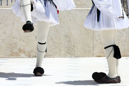 ceremonial: legs, ceremonial changing guard in Athens, Greece