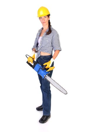 Beauty woman with chainsaw on white background photo