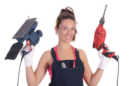 auger: Beauty woman with auger and sander on white background