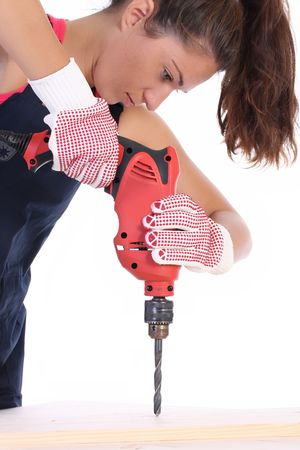 auger: Beauty woman with auger on work place