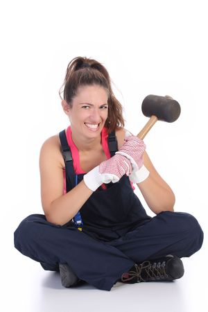 woman with black rubber mallet on white background  photo