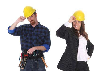 journeyman: businesswoman and construction worker with architectural plans