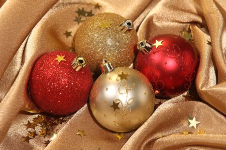 details of golden and red ornament balls photo