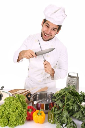 sacapuntas: Chef afilar un cuchillo con el afilador