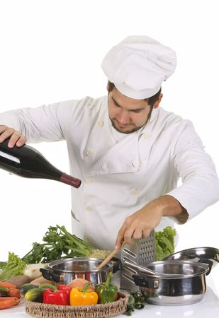 young chef preparing lunch on white background