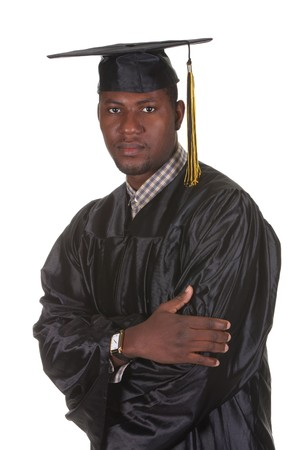 happy graduation a young man on white background photo