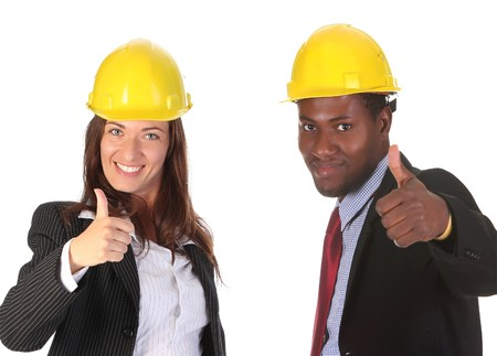 supervisores: sonriente de negocios y empresario en el fondo blanco Foto de archivo