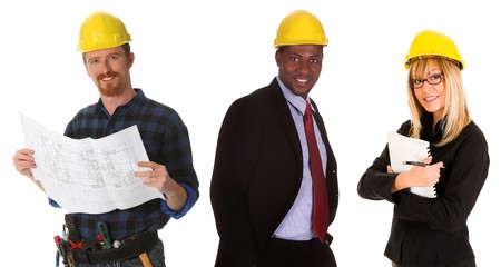 business team with blueprint and documents on white background photo