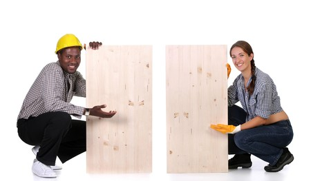 servicewoman: Young african american carpenter and woman carpenter holding wooden plank