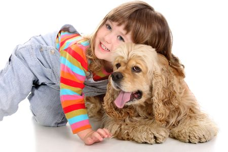 beauty a little girl and American Cocker Spaniel Stock Photo