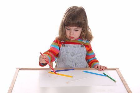 beauty a little girl drawing, on white background photo