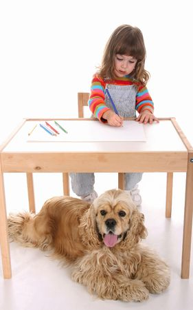 beauty a little girl and American Cocker Spaniel drawing photo