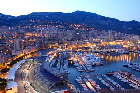 monaco: View of Monaco at night