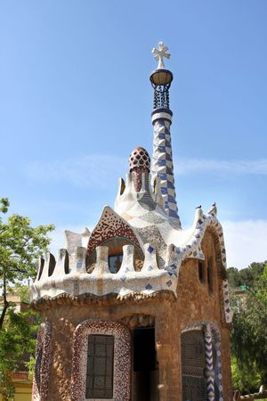 parc: view of Parc Guell in Barcelona, Spain