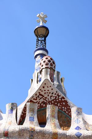view of chimney in Parc Guell,  Barcelona, Spain photo