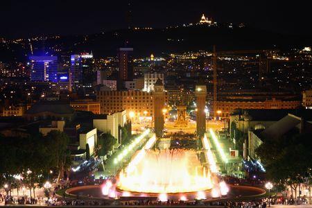 Magic fountain in city Barcelona, Spain photo