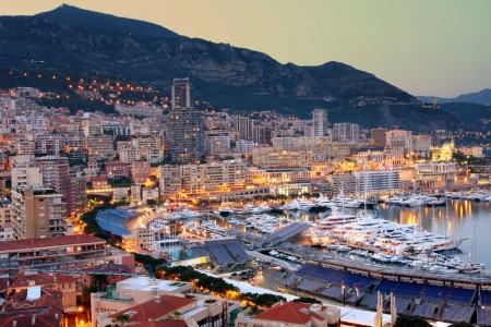 monte: View of Monaco at night