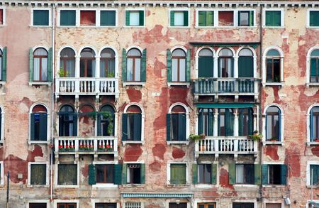 details shot of building, old houses in Venice, Italy photo