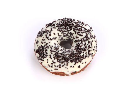 Close up shot of donut on white background photo
