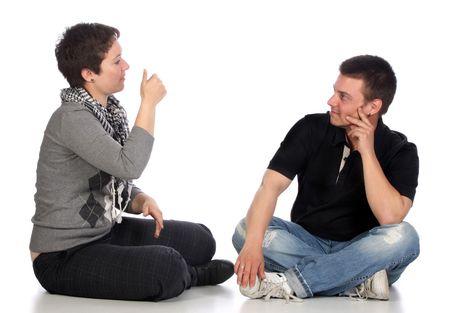 idiomas: personas sordas a trav�s de una demostraci�n de mano de fondo blanco