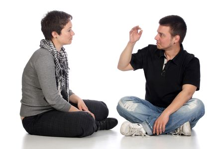 gestural: deaf persons hand demonstrating over a white background
