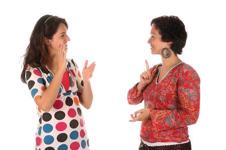 idiomas: las personas sordas que demuestra la mano sobre un fondo blanco
