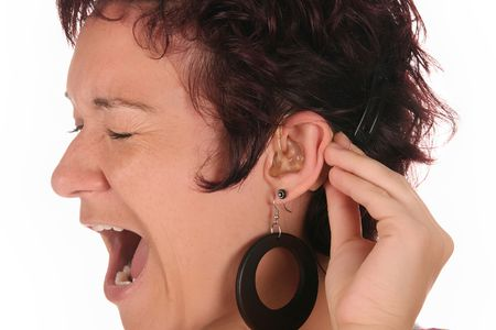 probation: Young woman probation tones with Hearing Aid