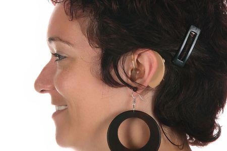 hearing aid: Beautiful young woman with hearing aid, closeup shot