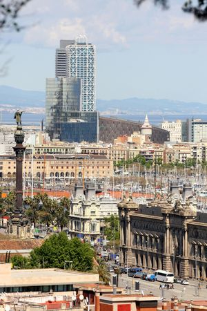 details panoramic view of Barcelona, from Mont Juic photo