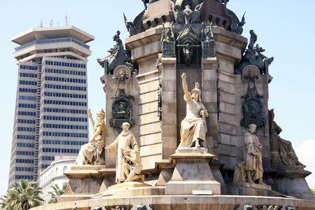 christopher: Details Statue Christopher Columbus city Barcelona, Spain