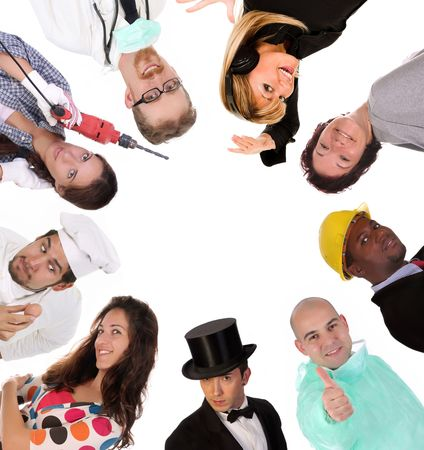 Large group of diversity workers people on  white background   photo