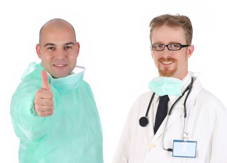 surgeon and doctor happiness on white background photo