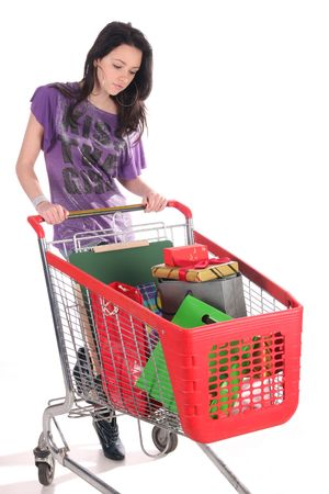 shoppingcart: girl with shopping cart over white background Stock Photo