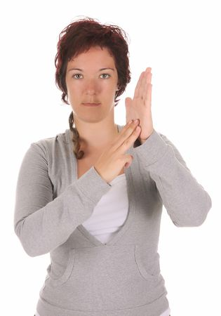 beauty young deaf person hand demonstrating, M in the alphabet of signs  photo