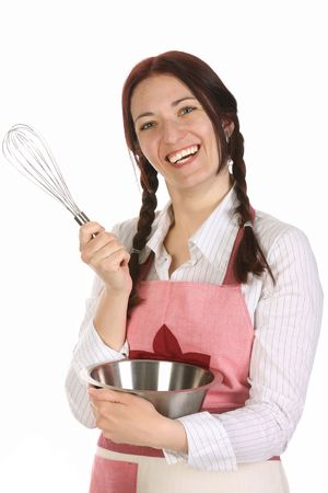 beautiful housewife preparing with egg beater on white  background photo