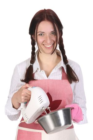 beautiful housewife preparing with kitchen mixer on white  background photo