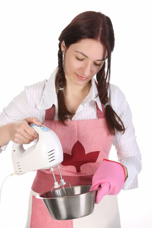 housewife preparing with kitchen mixer on white  background photo
