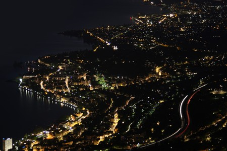 Night panorama Montreux, Vevey and swiss riviera from Caux, Switzerland  photo