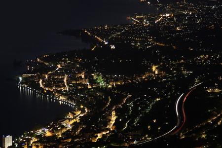 vevey: Night panorama Montreux, Vevey and swiss riviera from Caux, Switzerland  Stock Photo